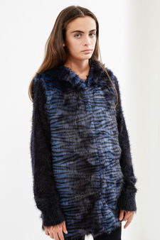 Teen fur jacket with animal pattern, Black, hi-res