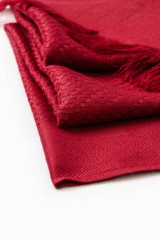 Knitted scarf with fringed edges, Red, hi-res