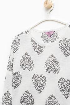 Patterned viscose blend pullover, White, hi-res