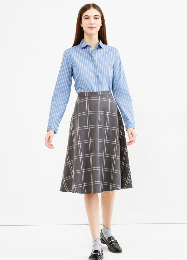 High-waisted longuette skirt with check pattern | OVS