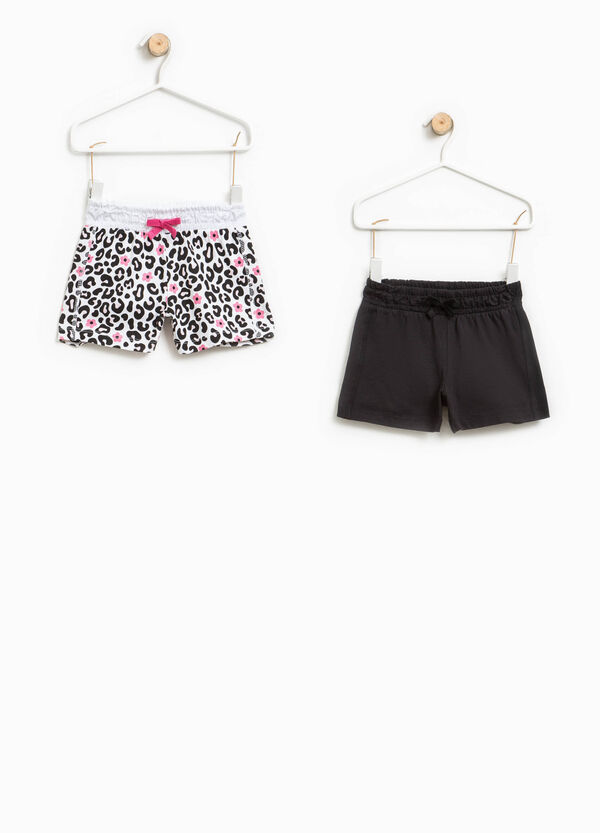 Set due shorts unito e fantasia animalier | OVS
