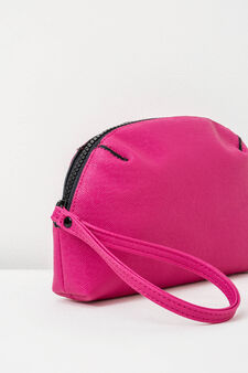Solid colour clutch with zip, Fuchsia, hi-res