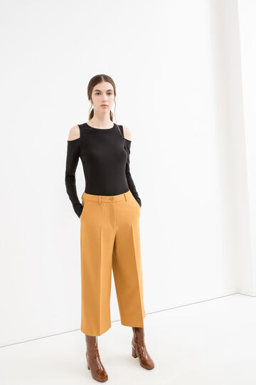 Gaucho trousers with crease, Ochre Yellow, hi-res