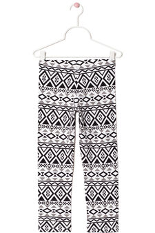 Printed leggings in stretch cotton, Black, hi-res