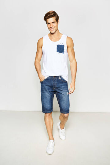 Slim-fit denim Bermuda shorts with whiskering