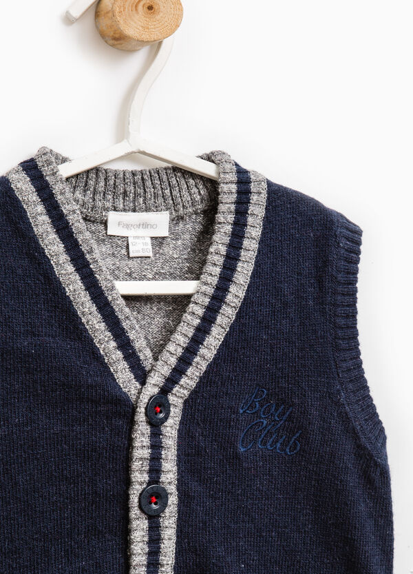 Wool blend knit waistcoat with buttons | OVS