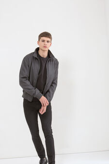 Solid colour jacket with high neck., Grey, hi-res
