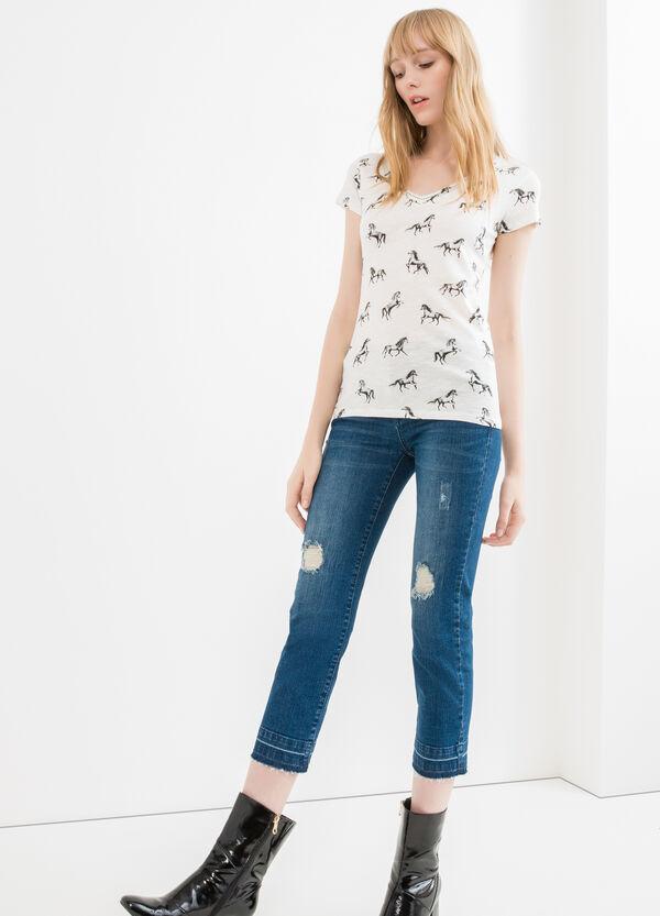 T-shirt puro cotone scollo a V | OVS