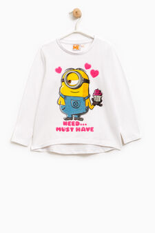 Minions T-shirt with sequins, White, hi-res