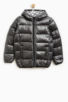 Real down jacket with hood, Slate Grey, hi-res