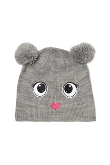 Beanie cap with two pompoms, Grey, hi-res