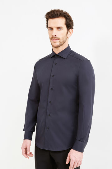 Slim-fit formal shirt with cut-away collar, Black, hi-res