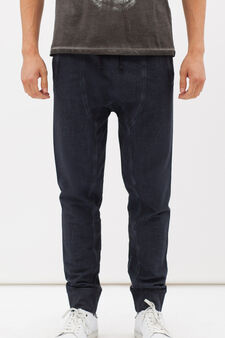 Joggers in 100% cotton with faded look, Blue, hi-res