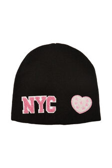 Beanie cap with patches, Black, hi-res