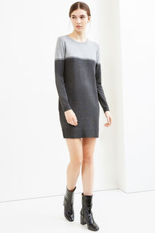 Viscose blend dress with long sleeves, Grey, hi-res
