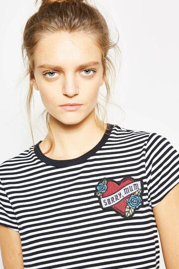 T-shirt crop in viscosa a righe con patch, Bianco/Nero, hi-res