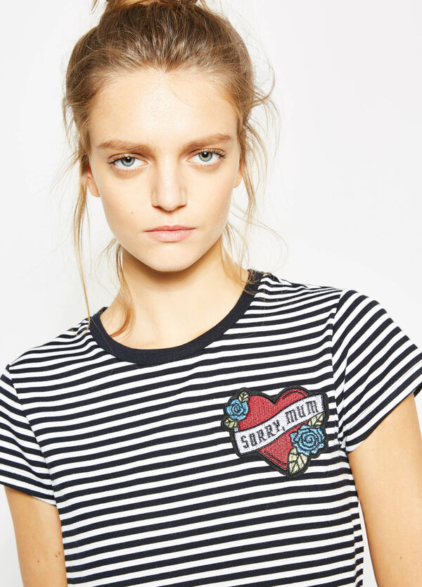 Striped viscose crop T-shirt with patch | OVS