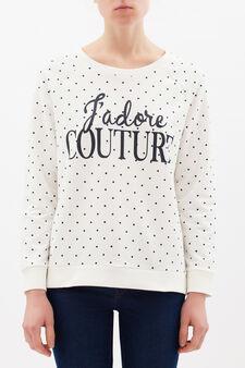 Stretch cotton printed sweatshirt, Milky White, hi-res