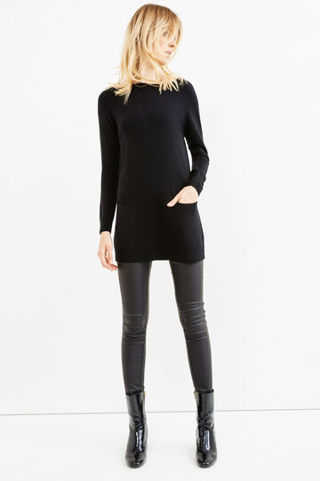 Knitted pullover with boat neck, Black, hi-res