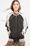 Two-tone stretch bomber jacket, Black/White, hi-res