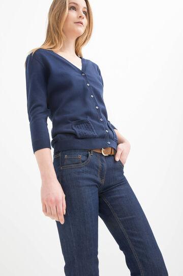 Cardigan puro cotone con tasche, Blu denim, hi-res