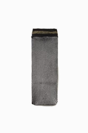 Gambaletto a rete con glitter, Nero/Giallo, hi-res