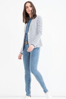 Striped cotton blend blazer, White/Blue, hi-res