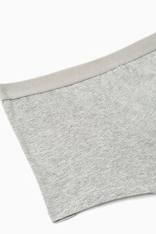Three-pack solid colour stretch cotton boxer shorts, Grey Marl, hi-res
