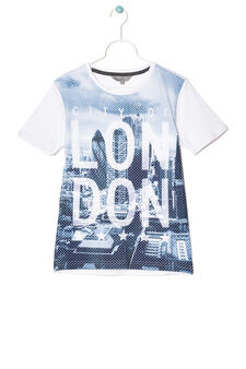 T-shirt with openwork insert in contrasting colour, White, hi-res