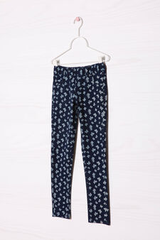 Stretch jeggings with pattern in contrasting colour., Dark Blue, hi-res