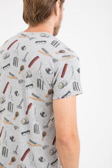 T-shirt puro cotone stampa all-over, Grigio melange, hi-res
