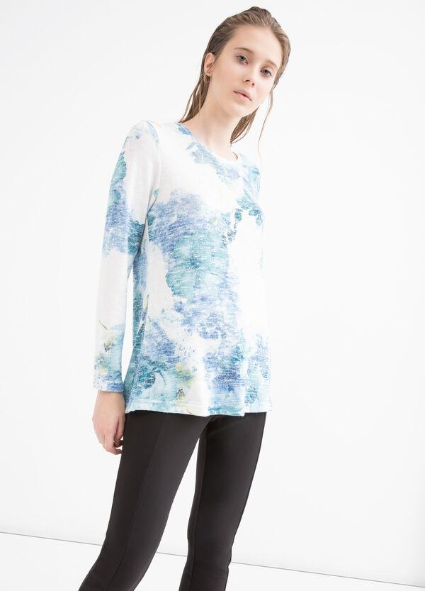 T-shirt misto viscosa floreale   OVS