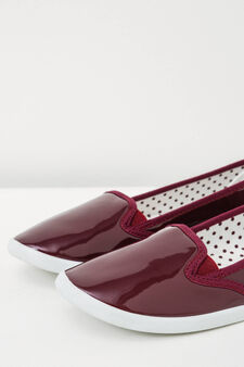 Slip-ons with shiny upper, Claret Red, hi-res