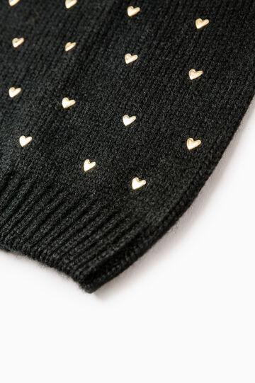 Beanie cap with diamanté heart, Black, hi-res