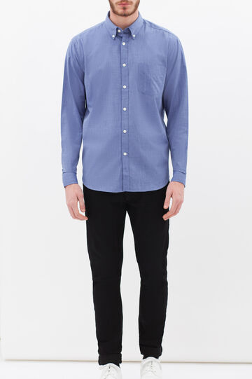 Plain shirt with pocket, Blue, hi-res