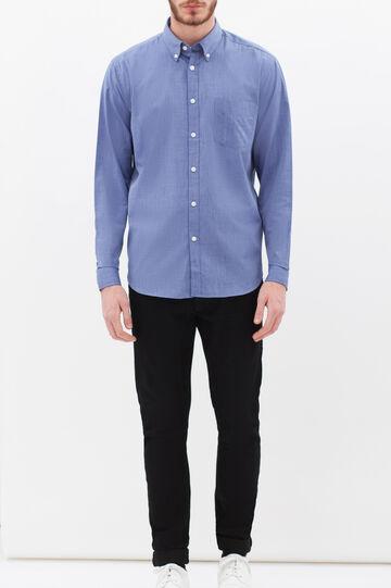 Camicia tinta unita con taschino, Blu, hi-res