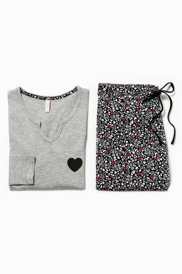 Pijama con cuello de pico y estampado de corazones, Negro/Gris, hi-res