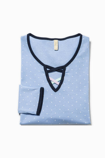 Polka dot patterned pyjama top in cotton