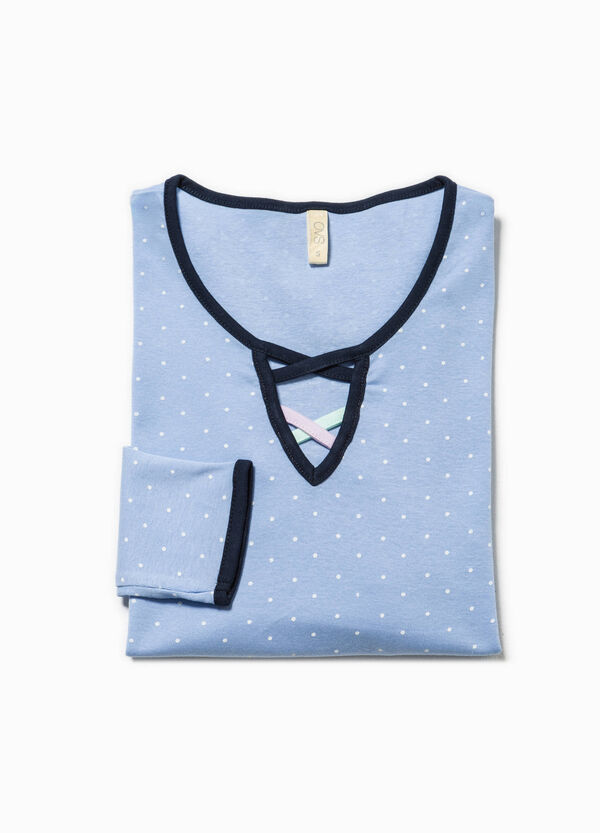 Polka dot patterned pyjama top in cotton | OVS