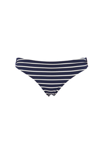 Stretch bikini bottoms with striped pattern, White/Blue, hi-res