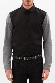 Cotton blend slim fit shirt, Black/Grey, hi-res