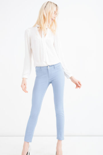 Stretch cotton blend trousers, Sky Blue, hi-res