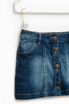 Stretch denim skirt with buttons, Medium Wash, hi-res
