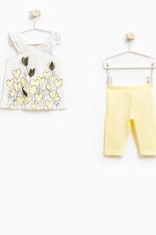 Printed top and leggings set, White/Yellow, hi-res