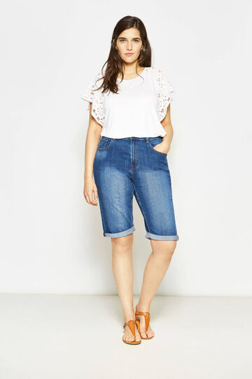Curvy denim Bermuda shorts with faded effect