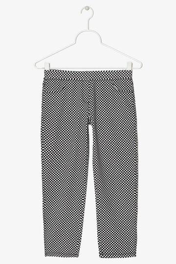 Pantaloni stretch a pois, Bianco/Nero, hi-res