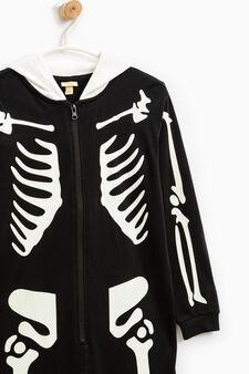 Tuta pigiama stampa scheletro, Nero, hi-res