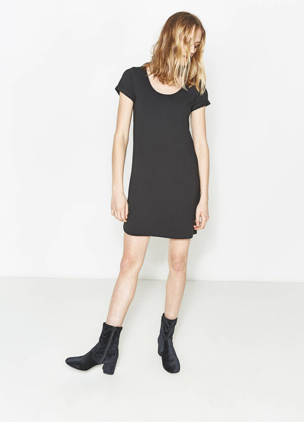 Vestido elástico de manga corta | OVS