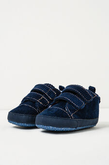 Ribbed sneakers with Velcro fastening, Navy Blue, hi-res