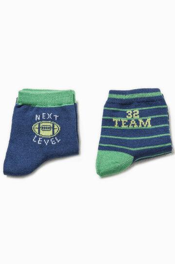 Set due paia di calze ricamo e righe, Blu/Verde, hi-res